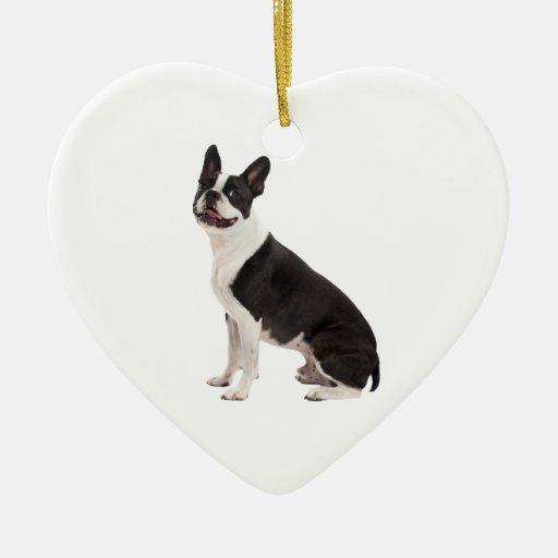 Ornamento hermoso de la foto del perro de Boston Adorno Navideño De Cerámica En Forma De Corazón