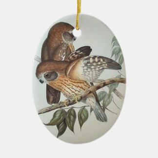 Ornamento hermoso del búho del vintage adorno navideño ovalado de cerámica