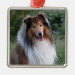Ornamento hermoso del retrato del perro del collie ornamento para arbol de navidad