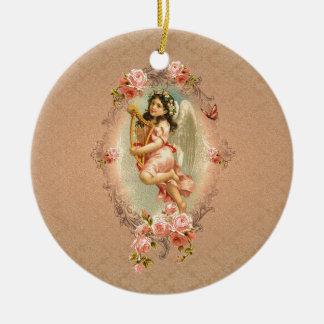 Ornamento histórico de los rosas del vintage del adorno redondo de cerámica