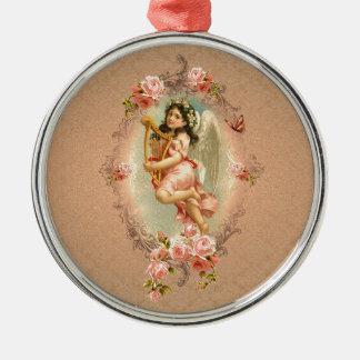 Ornamento histórico de los rosas del vintage del adorno redondo plateado