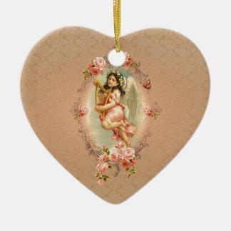 Ornamento histórico de los rosas del vintage del adorno de cerámica en forma de corazón