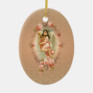 Ornamento histórico de los rosas del vintage del adorno ovalado de cerámica