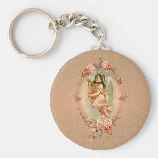 Ornamento histórico de los rosas del vintage del llavero redondo tipo pin