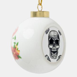 Ornamento humano de la bola del navidad blanco de  adorno de cerámica en forma de bola