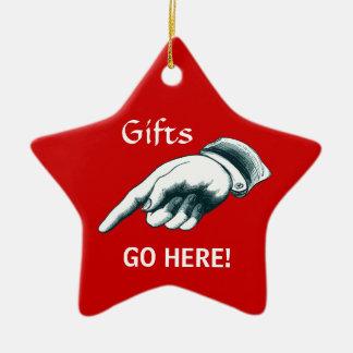 Ornamento impresionante del árbol de navidad adorno navideño de cerámica en forma de estrella
