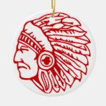 Ornamento indio adorno navideño redondo de cerámica