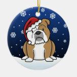 Ornamento inglés del navidad del dogo del dibujo adorno redondo de cerámica