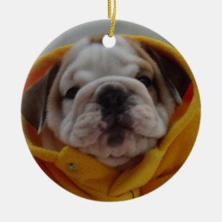 Ornamento inglés del perrito del dogo adorno navideño redondo de cerámica