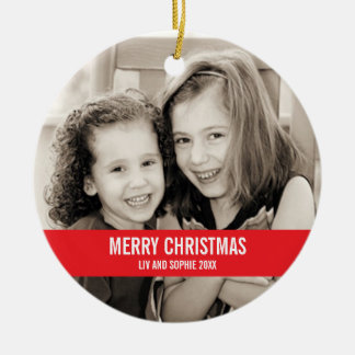 Ornamento intrépido del navidad rojo y blanco adorno navideño redondo de cerámica