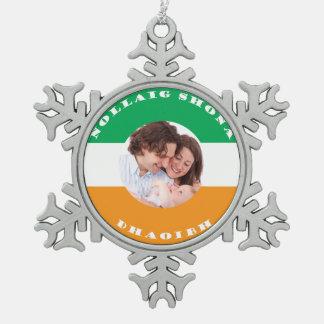 Ornamento Irlandés-Americano del navidad de la Adorno De Peltre En Forma De Copo De Nieve