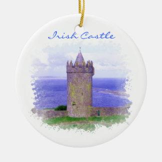 Ornamento irlandés del castillo adorno navideño redondo de cerámica