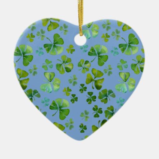 Ornamento irlandés del corazón del trébol adorno de cerámica en forma de corazón