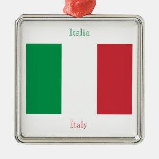 Ornamento italiano de la bandera adorno navideño cuadrado de metal