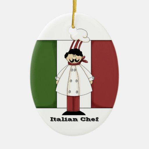 Ornamento italiano de la cocina del cocinero #1 adorno navideño ovalado de cerámica