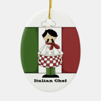 Ornamento italiano de la cocina del cocinero #2 adorno navideño ovalado de cerámica
