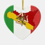 Ornamento italiano de Sicilia de la bandera Adorno Navideño De Cerámica En Forma De Corazón