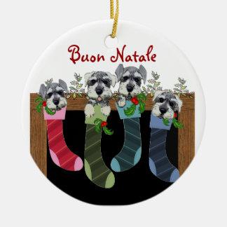 Ornamento italiano del navidad de Buon Natale Adorno Navideño Redondo De Cerámica