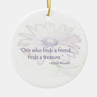 Ornamento italiano del proverbio de la amistad adorno navideño redondo de cerámica