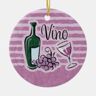 Ornamento italiano del vino adorno navideño redondo de cerámica