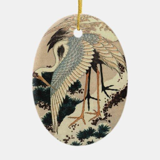 Ornamento japonés de la grúa del vintage ornamentos de navidad