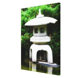 Ornamento japonés del jardín de la linterna de la  impresión en lienzo estirada