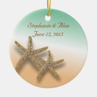 Ornamento Jeweled del boda de las estrellas de mar Adorno Navideño Redondo De Cerámica