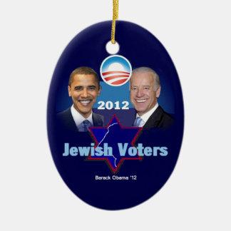 Ornamento judío de Obama Adorno Navideño Ovalado De Cerámica
