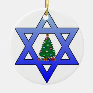 Ornamento judío del árbol de navidad de la adorno navideño redondo de cerámica