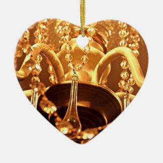 ORNAMENTO lamentable del CORAZÓN de Bling 1-Gold Adorno Navideño De Cerámica En Forma De Corazón
