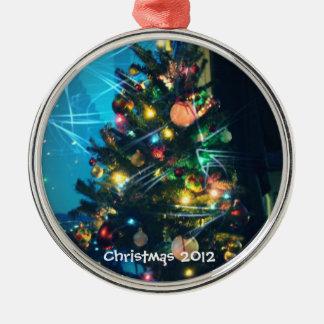 Ornamento ligero brillante del navidad adorno navideño redondo de metal