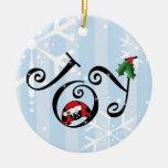 Ornamento lindo de la alegría de la mariquita adorno navideño redondo de cerámica