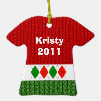 Ornamento lindo de la camisa de Argyle del navidad Ornamentos De Reyes