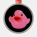 Ornamento lindo de la diversión del rosa de goma adorno redondo plateado