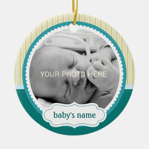 Ornamento lindo de la foto del bebé ornamentos de reyes