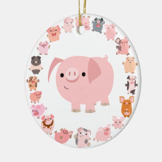Ornamento lindo de la mandala del cerdo del dibujo adorno navideño redondo de cerámica