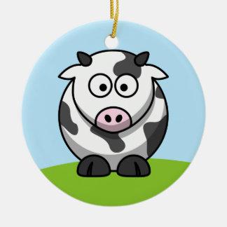 Ornamento lindo de la vaca lechera adorno navideño redondo de cerámica