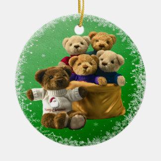 Ornamento lindo de los osos de peluche del navidad adorno navideño redondo de cerámica