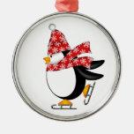 Ornamento lindo de los patines de hielo del pingüi ornaments para arbol de navidad