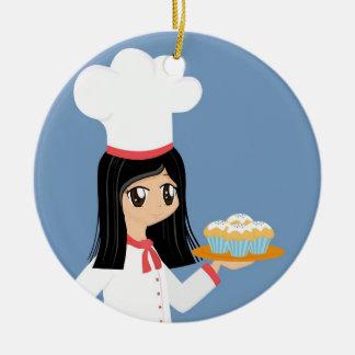 Ornamento lindo del chica del panadero adorno redondo de cerámica