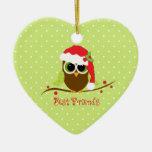 Ornamento lindo del corazón del búho del navidad ornato