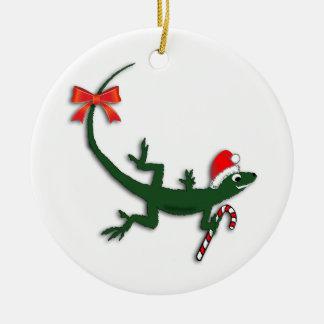 Ornamento lindo del día de fiesta del lagarto del adorno navideño redondo de cerámica