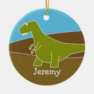 Ornamento lindo del dinosaurio del dibujo animado adorno redondo de cerámica