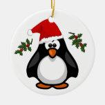 Ornamento lindo del gorra de Santa del pingüino de Ornamentos De Navidad