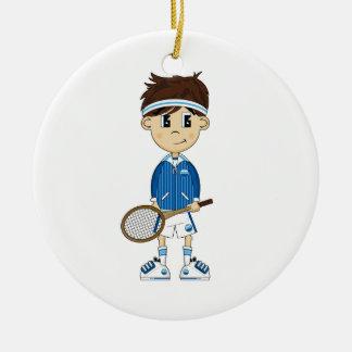 Ornamento lindo del muchacho del tenis adorno de navidad