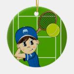 Ornamento lindo del muchacho del tenis ornato