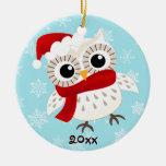 Ornamento lindo del navidad del búho de la nieve adorno navideño redondo de cerámica