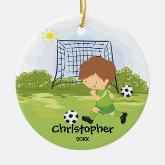 Ornamento lindo del navidad del deporte del adorno navideño redondo de cerámica
