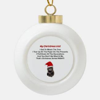 Ornamento lindo del navidad del gatito adorno de cerámica en forma de bola