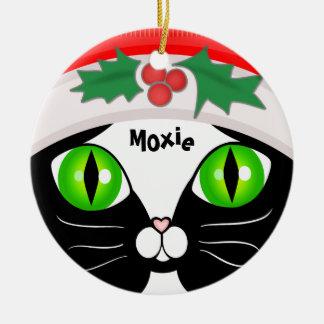 Ornamento lindo del navidad del gato del smoking adorno navideño redondo de cerámica